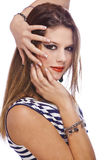 Fashion model showing acrylic fingernails Stock Photos