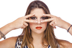 Fashion model showing acrylic fingernails royalty free stock photo
