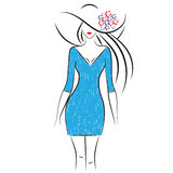 Fashion model. Sketch. Silhouette of beautiful woman in big hat outline style , vector illustration Stock Image
