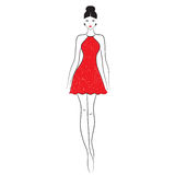 Fashion model. Sketch. Silhouette of beautiful woman in outline style vector illustration Royalty Free Stock Photos