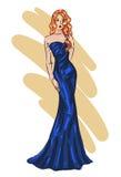 Fashion model sketch. Woman posing in blue evening dress stock illustration