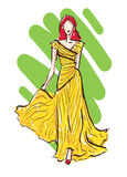 Fashion model sketch. Woman walking on podium in yellow dress stock illustration