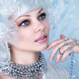 Fashion model with snow make-up Stock Photo