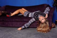 Fashion Model on Sofa Stock Image