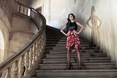 Fashion model in stairs Stock Photos