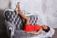 Fashion model in stockings posing in studio Stock Photos