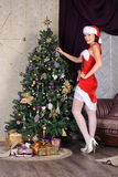 Fashion model in stockings posing in studio Stock Photography