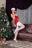 Fashion model in stockings posing in studio Royalty Free Stock Image