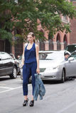 A Fashion model stopping traffic in New York city Stock Photos