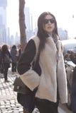 Fashion model Street Style wearing sunglasses during Fashion Week Royalty Free Stock Photos