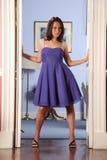 Fashion Model Strikes Pose In Doorway Royalty Free Stock Image