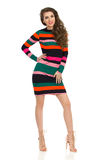 Fashion Model In Striped Multicolored Mini Dress And High Heels Stock Images