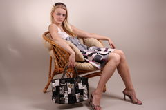 Fashion model in studio Royalty Free Stock Images