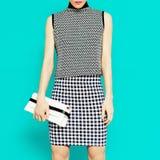 Fashion model in stylish clothesGeometric combination of trend Stock Photo