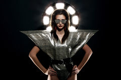 Fashion model in stylish snake image Stock Images