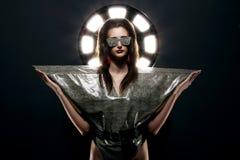 Fashion model in stylish snake image Royalty Free Stock Photo