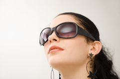Fashion model with sunglasses Royalty Free Stock Images