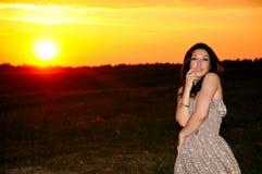 Fashion model on sunset Royalty Free Stock Photography