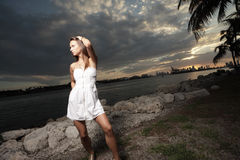 Fashion model during the sunset Royalty Free Stock Images