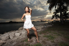 Fashion model during the sunset Stock Photos