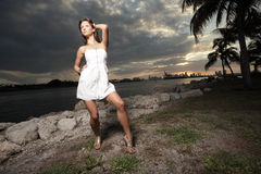 Fashion model during the sunset Stock Images