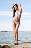 Fashion model in a swimsuit. Woman posing on a pier. Royalty Free Stock Photos