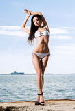 Fashion model in a swimsuit. Woman posing on a pier. Stock Photography