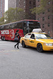 Fashion model taking a taxi in New York during Fashion Week Royalty Free Stock Image