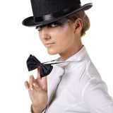 Fashion model in top hat Stock Photo