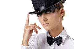 Fashion model in top hat Royalty Free Stock Photos