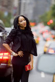Fashion Model in Traffic Royalty Free Stock Photography
