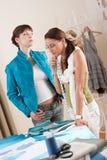Fashion model trying jacket in designer studio Stock Image