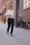 Fashion model Valerija Kelava street style in New York Stock Photo