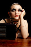 Fashion Model and Vintage Radio. Stock Photos