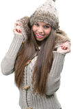 Fashion model - warm winter clothing Royalty Free Stock Photos