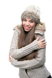 Fashion model - warm winter clothing Royalty Free Stock Images