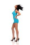 Fashion model wearing a blue dress Stock Photo