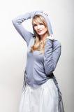 A fashion model wearing blue jacket Royalty Free Stock Photos