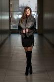 Fashion Model Wearing Leather Jacket Royalty Free Stock Photo