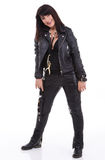 Fashion model wearing leather pants and jacket Stock Photography
