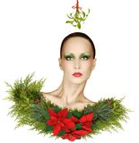 Christmas Fashion Fantasy With Mistletoe, Poinsettias, and Holid Royalty Free Stock Photo