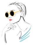 Fashion Model Wearing Sunglasses Stock Photos
