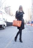Fashion model wearing sunglasses  Street Style during Fashion Week Stock Images