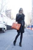 Fashion model wearing sunglasses  Street Style during Fashion Week Royalty Free Stock Image