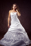 Fashion model wearing wedding dress royalty free stock photo