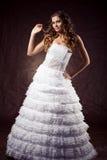 Fashion model wearing wedding dress Royalty Free Stock Images