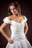 Fashion model wearing wedding dress Royalty Free Stock Photos