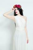Fashion Model Wearing White Dress Stock Image