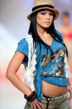 Fashion model wears clothes from BSB collection royalty free stock images