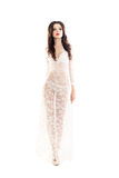 Fashion Model in White Dress Stock Image